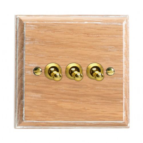 Varilight XKT3LO Kilnwood Limed Oak 3 Gang 10A 1 or 2 Way Toggle Light Switch